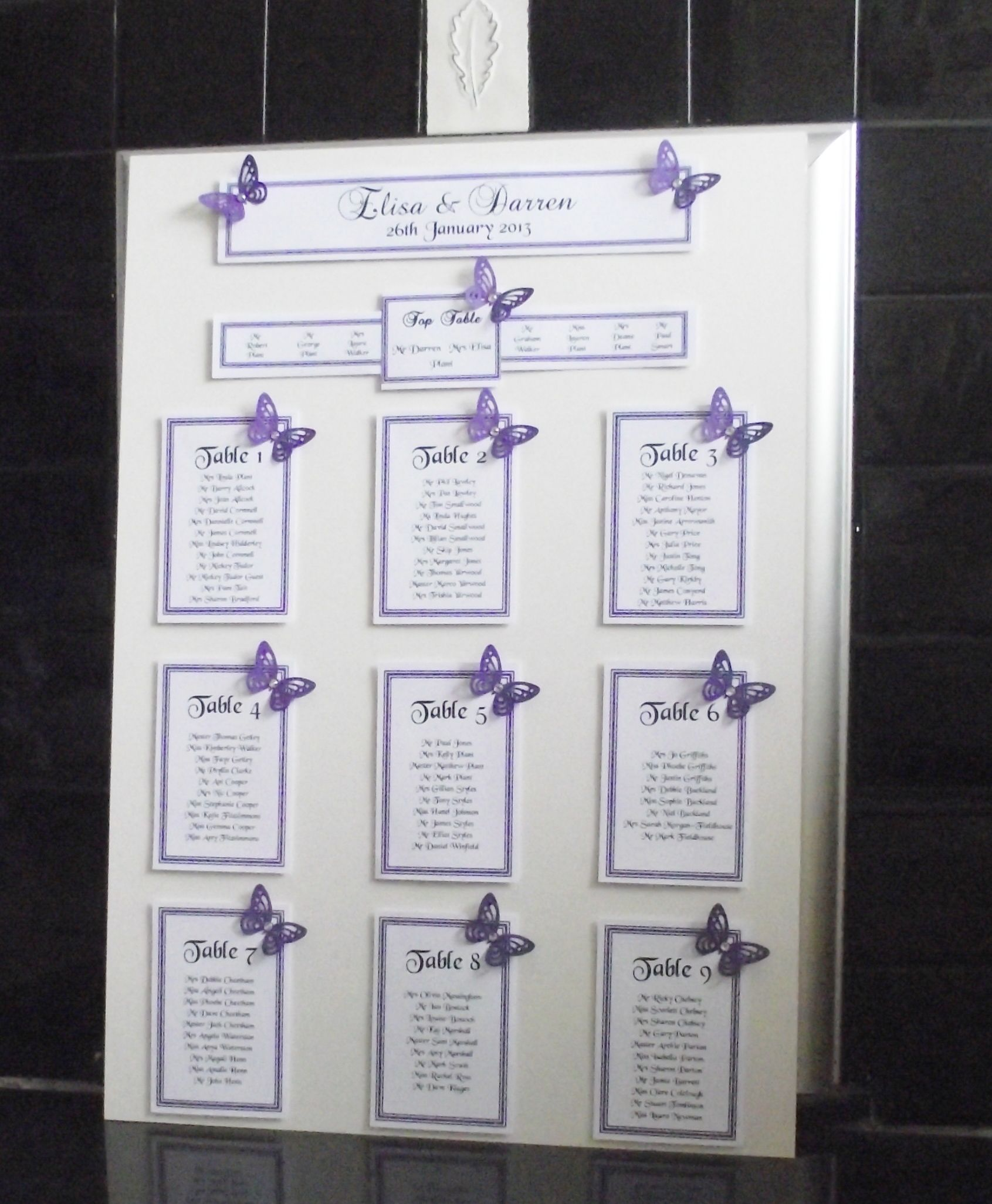 Personalised a3 a2 wedding seating plan table plan heart for Table plan