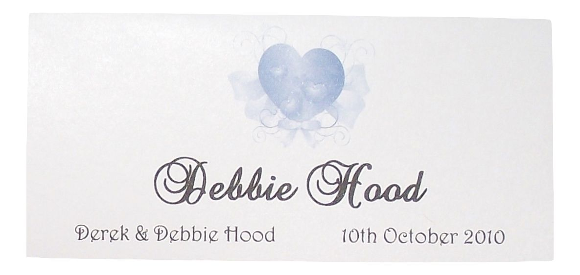 Place Name Cards Wedding Elegant Heart Design X 12 Various Colours Personalised