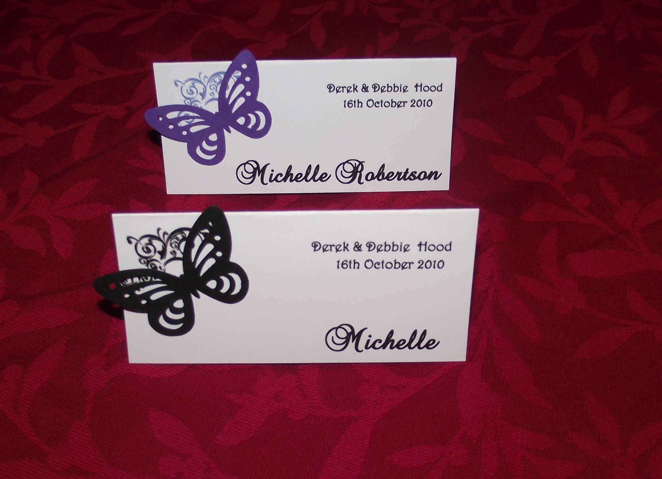 Place names cards wedding corner butterfly design x 12 for Wedding place name cards