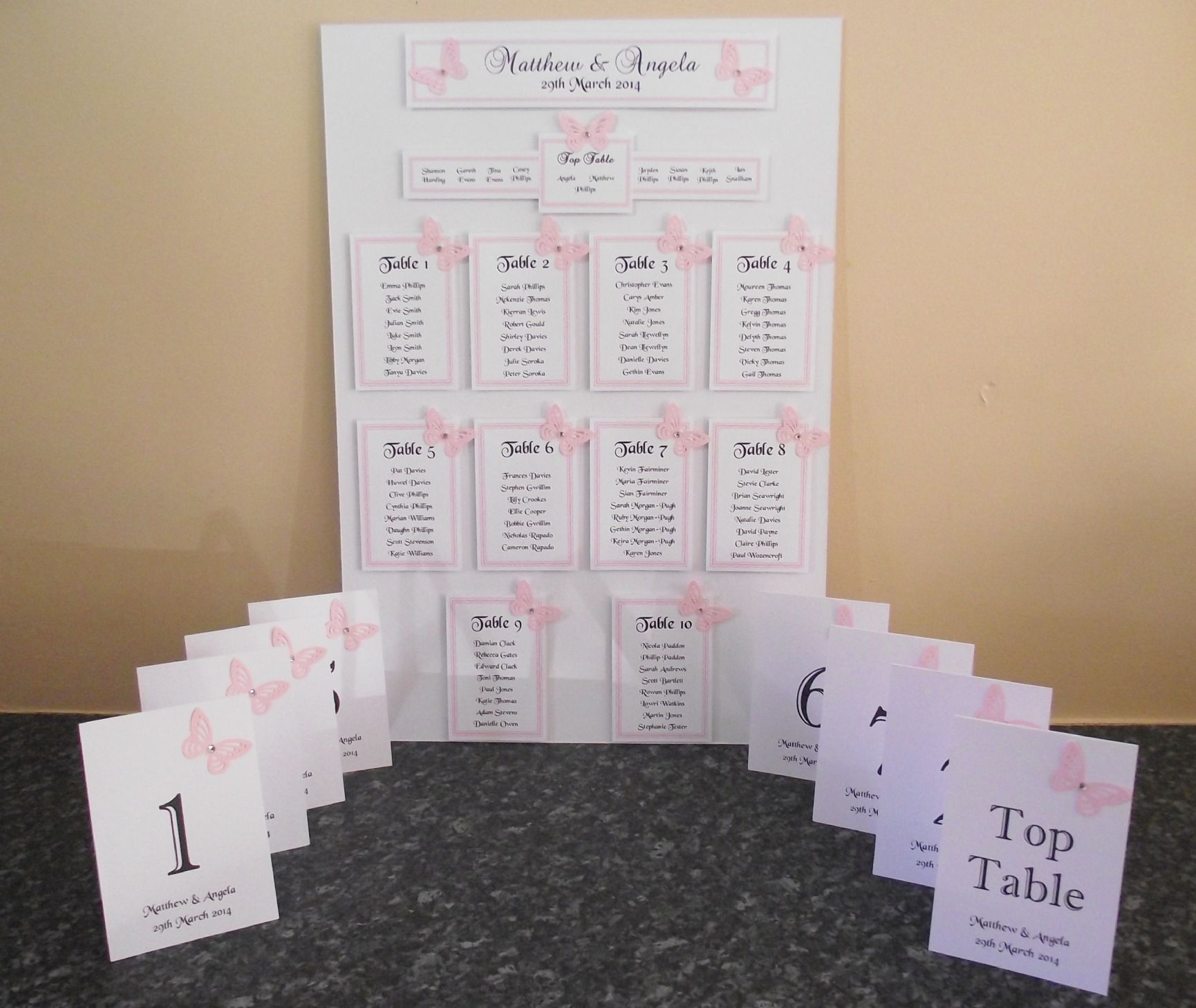 Table numbers names double sided personalised 12 or 11 top for Table design names