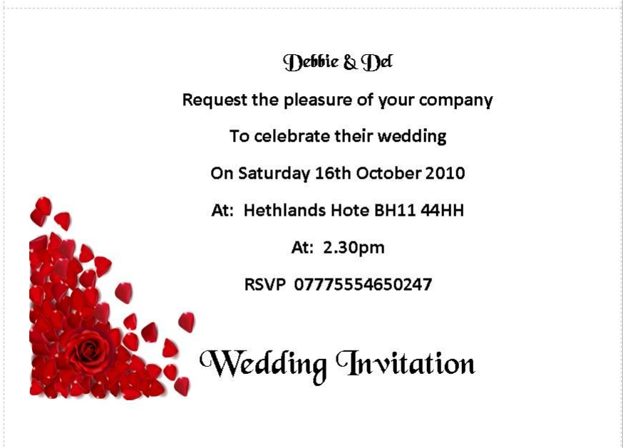 Wedding invitation day or evening Personalised Corner Red Roses – Red Rose Wedding Invitation