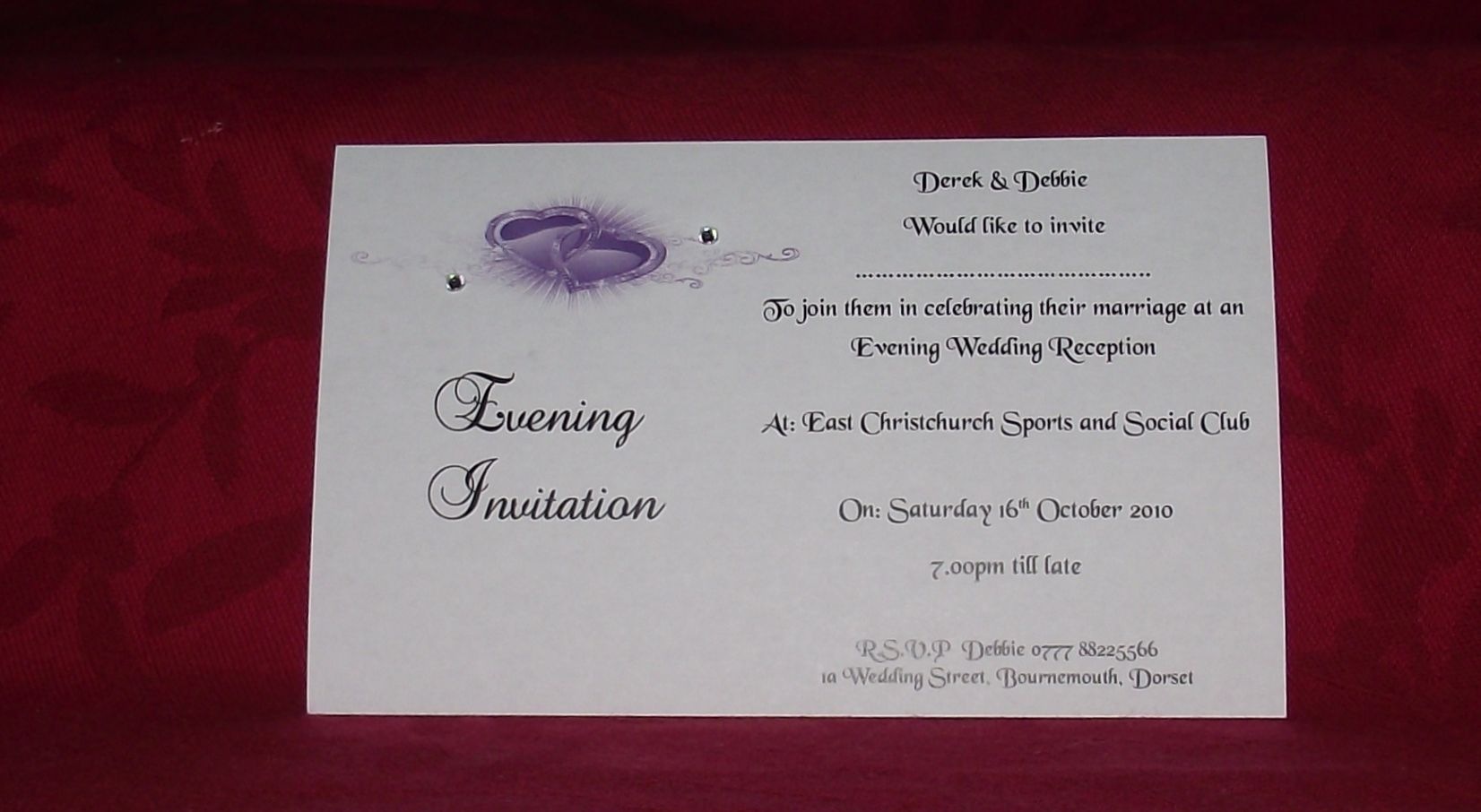 Evening Wedding Reception Invitations: Wedding Invitations Day Or Evening Personalised Printed