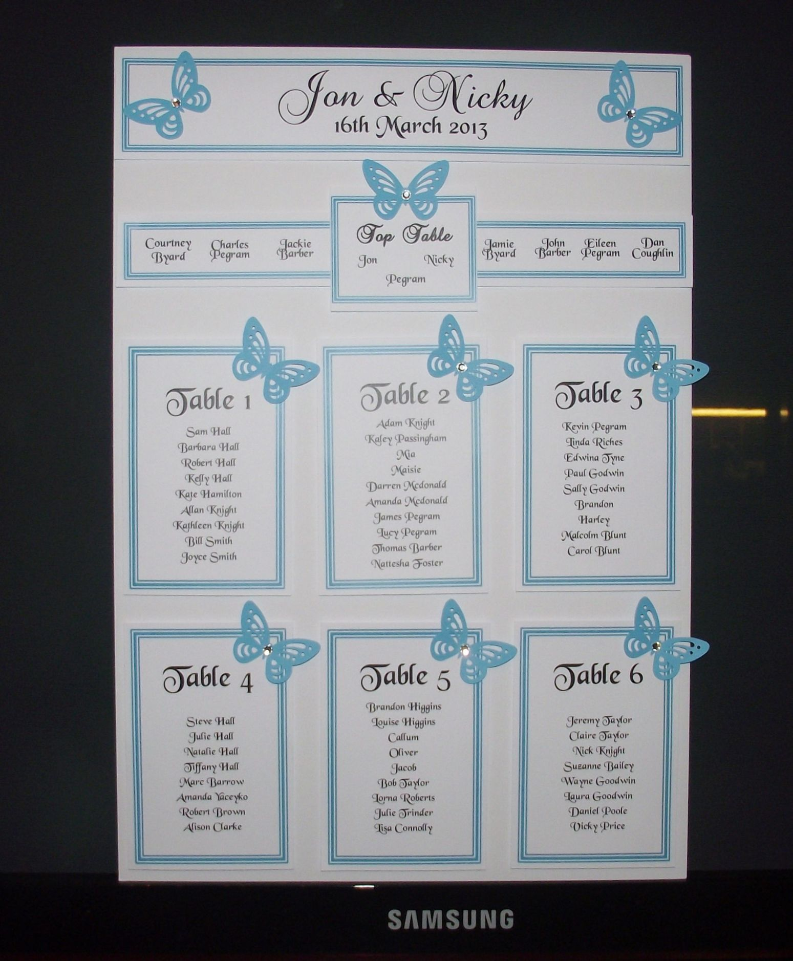 Personalised A3 A2 Wedding Seating Plan Table Plan