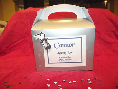 Childrens Wedding Activity Box / Bag PersonalisedSilver Top hat and dove