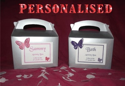 Childrens Wedding Activity Box / Bag Silver Butterfly Design Personalised