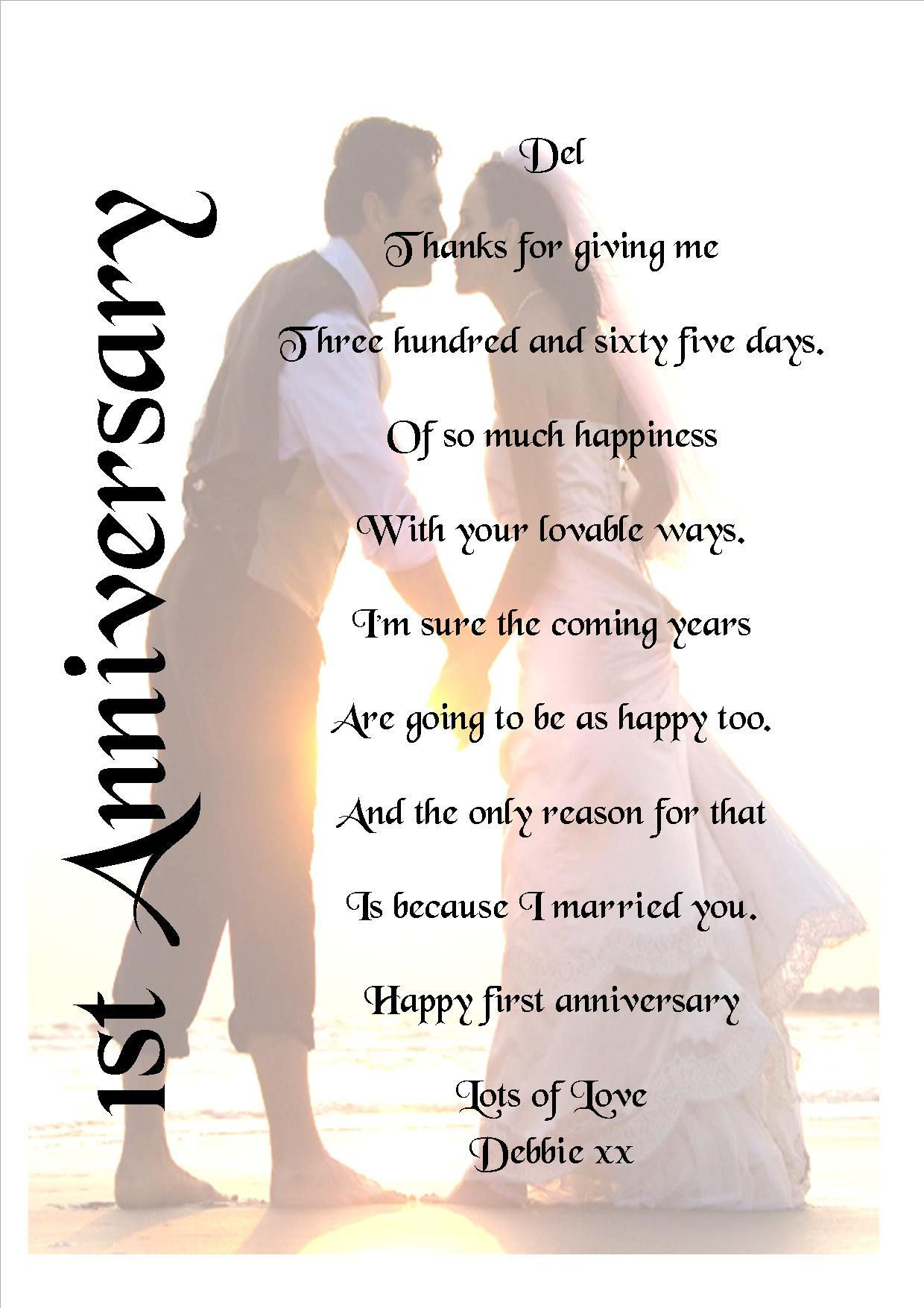First Wedding Anniversary.First Wedding Anniversary Poem Print Various Sizes Card Or Laminated Personalised