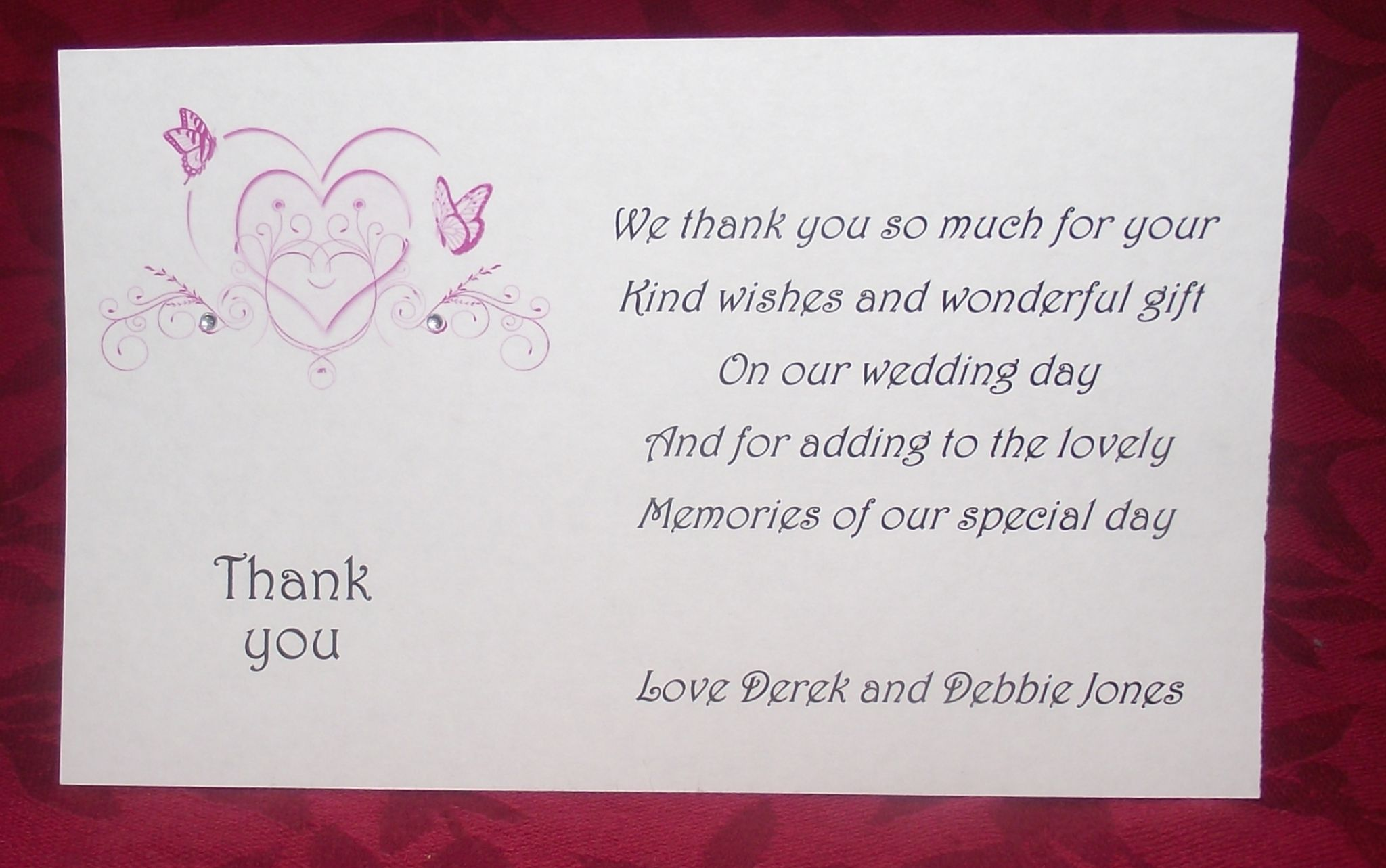 Thank you gift cards wedding personalised printed heart butterfly thank you gift cards wedding personalised printed heart butterfly design various colours x 10 m4hsunfo