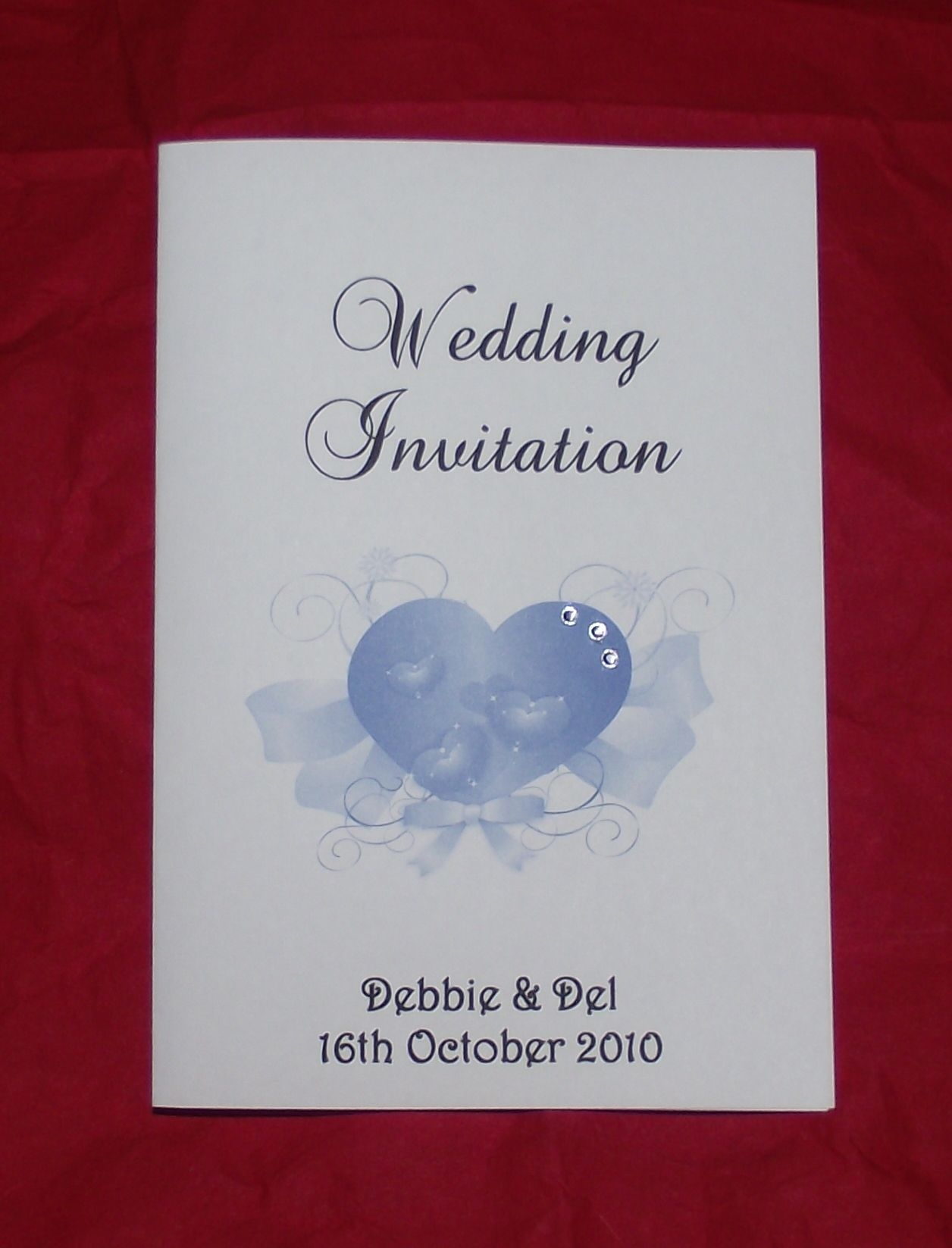 Wedding invitation Stationery Personalised Elegant Heart diamonte ...