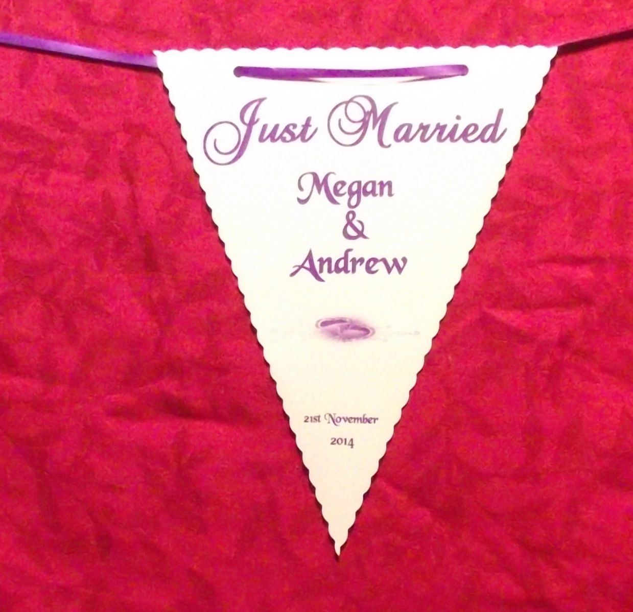 Wedding Bunting Banner Printed Heart Design various colours 3m ...