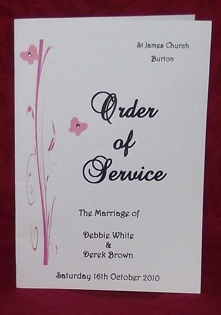 Order of service personalised wedding butterfly scroll design order of service personalised wedding butterfly scroll design various colours x10 filmwisefo