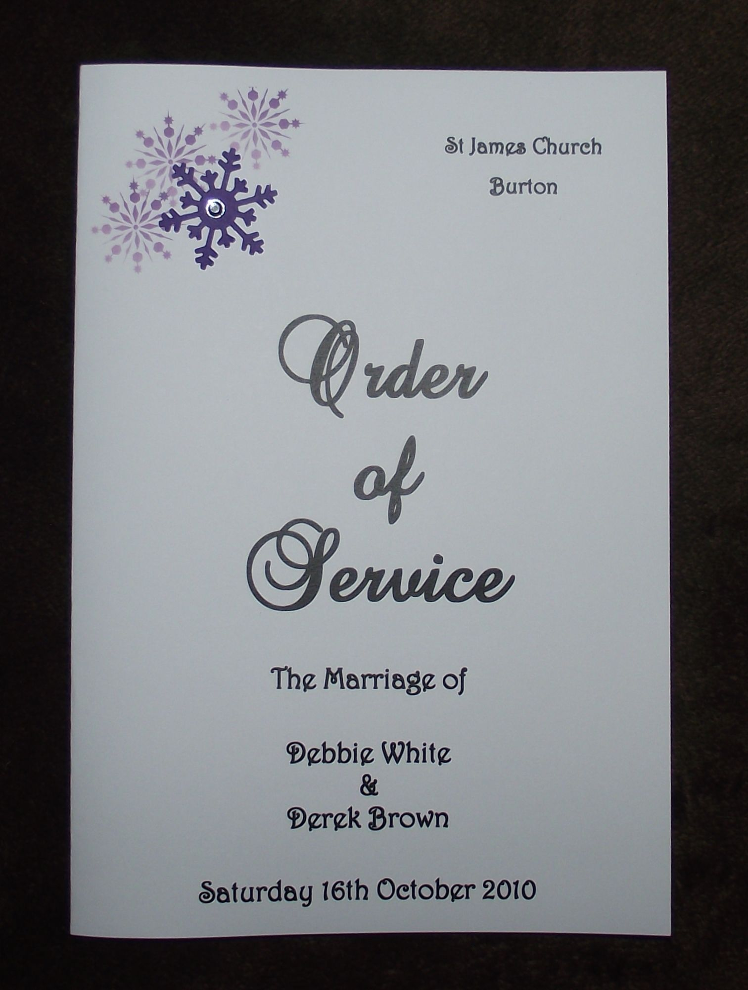 Order Of Service Personalised Wedding Corner Snowflake Design Various Colours X10