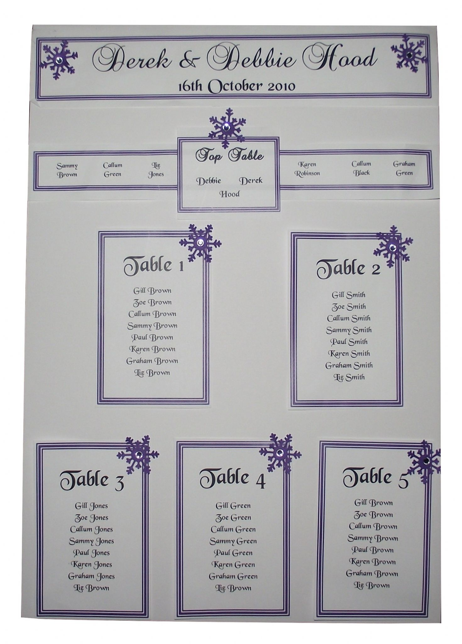 Personalised A3 A2 Wedding Seating Plan Table Planner