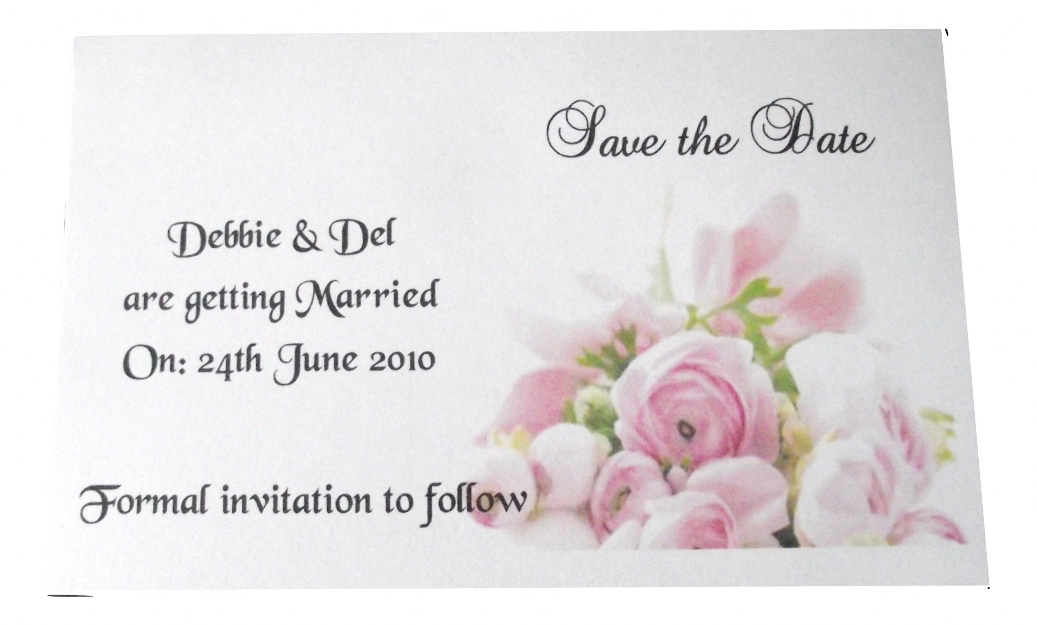 Save The Date Invitations Cards Pink Rose Design Personalised Postcard Style X10