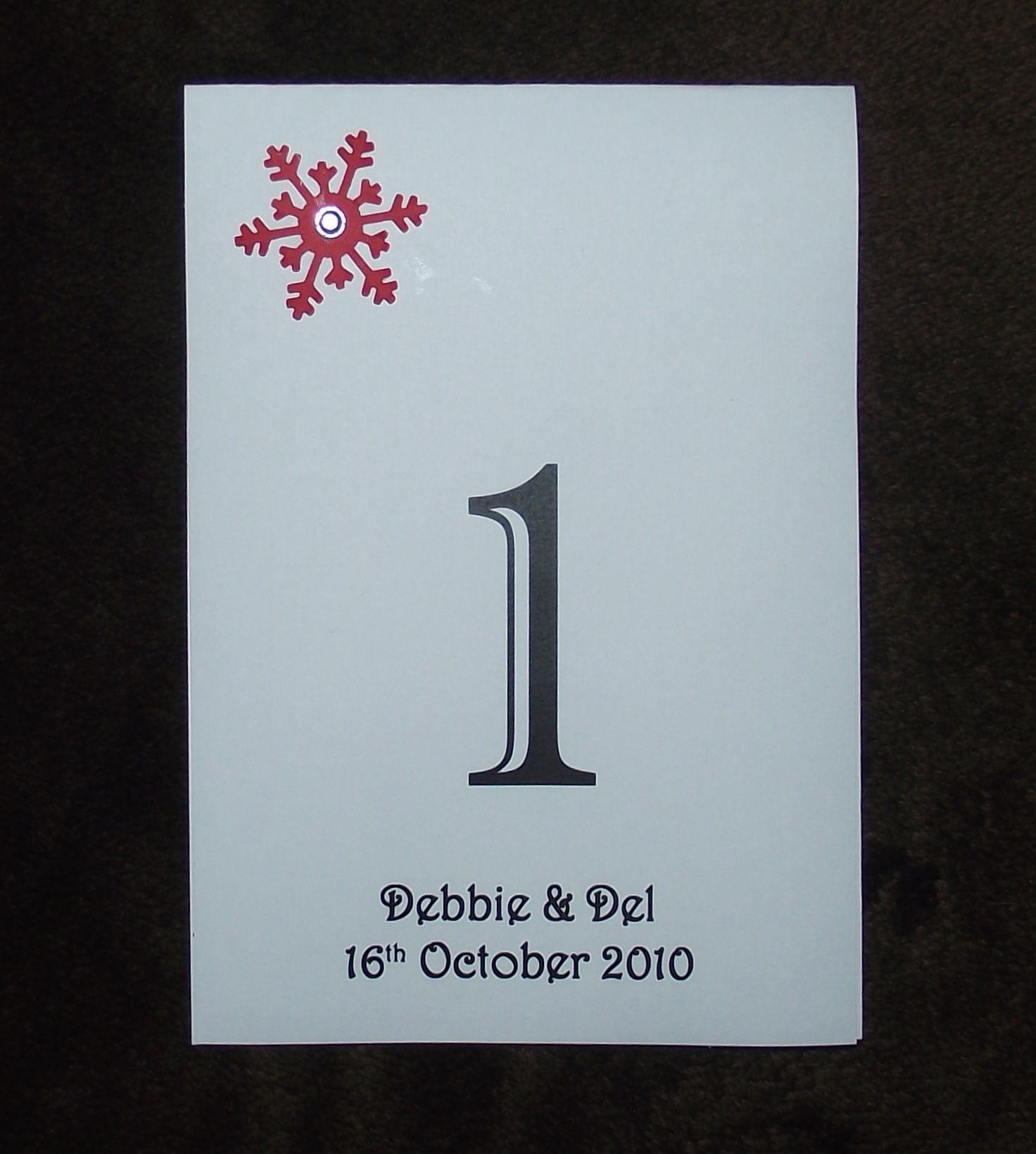 Table Numbers / names, double sided Personalised 6 or 5 + top Wedding  snowflake design winter christmas various colours