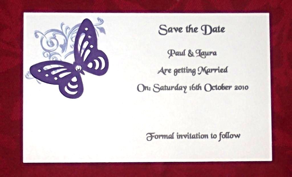 Save the date invitation cards wedding personalised corner butterfly save the date invitation cards wedding personalised corner butterfly design various colours postcard style x10 stopboris Image collections
