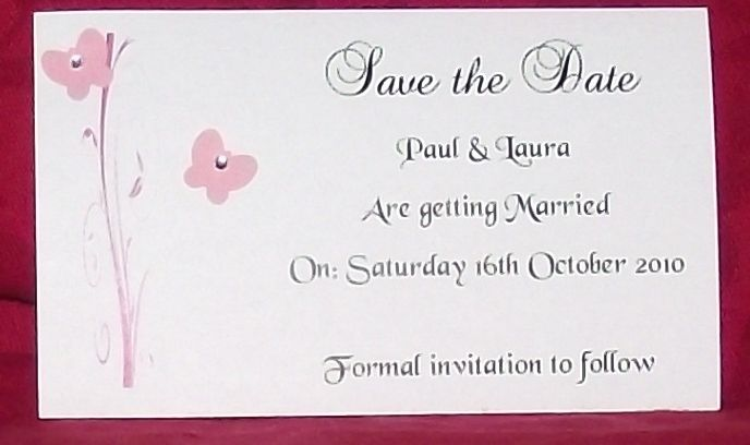 Save the date invitations cards butterfly scroll design various save the date invitations cards butterfly scroll design various colours personalised postcard style x10 stopboris Image collections