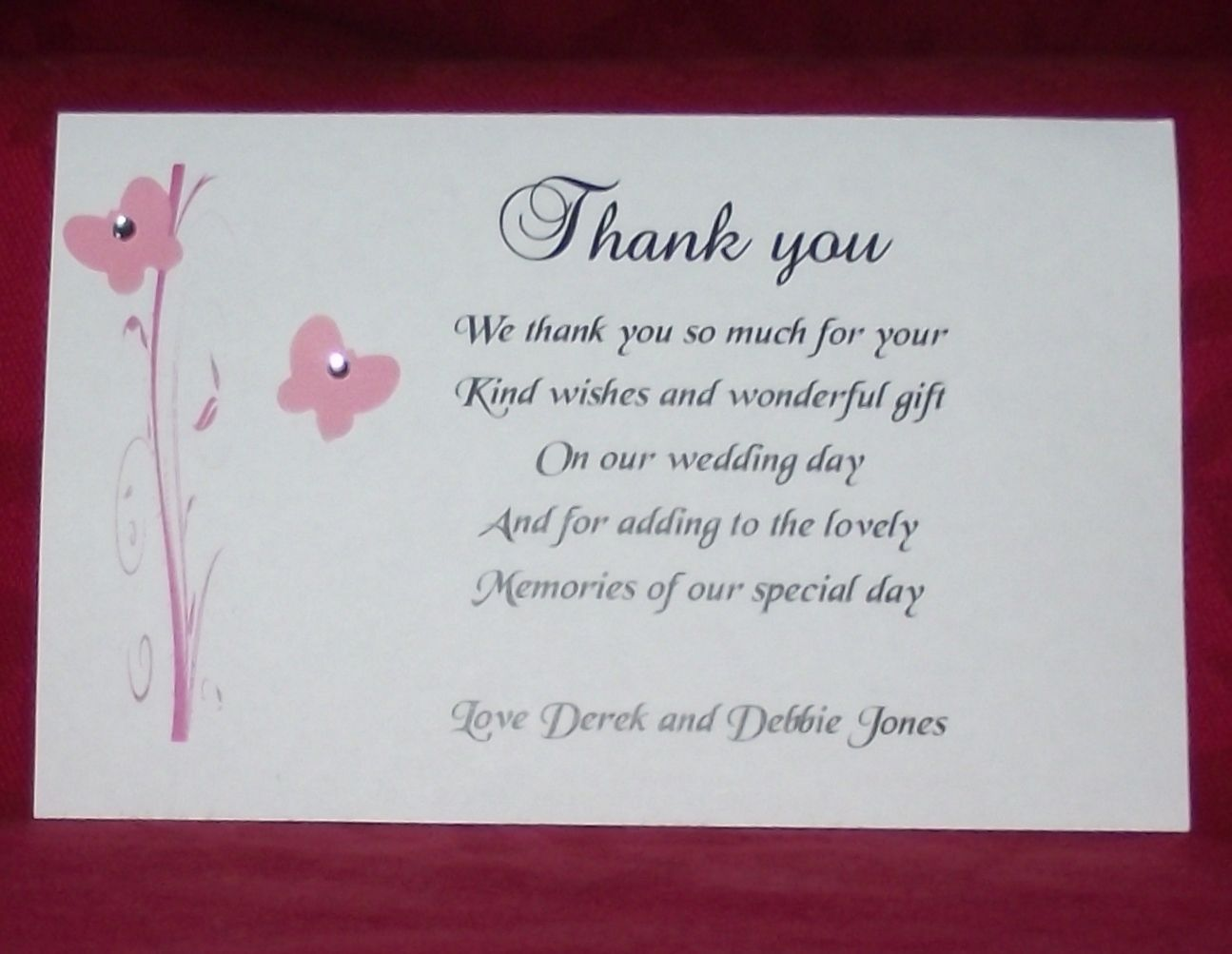 Thank You Gift Cards Wedding Personalised Butterfly Scroll Design various colours x 10