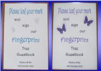 Wedding Fingerprint guest book Tree Sign / Notice - A4 - Butterfly or Doves design