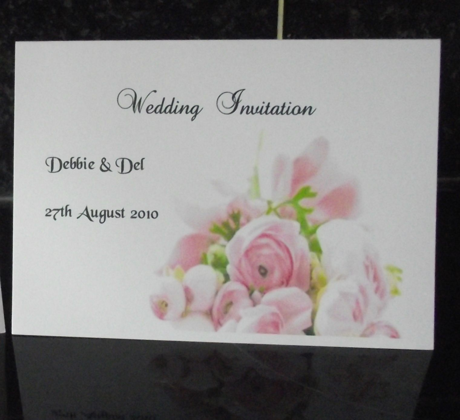Wedding invitation day or evening Personalised Pink Rose design A6 ...