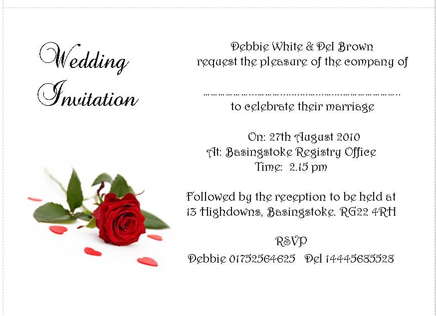 Wedding Invitation Day Or Evening Personalised Single Red