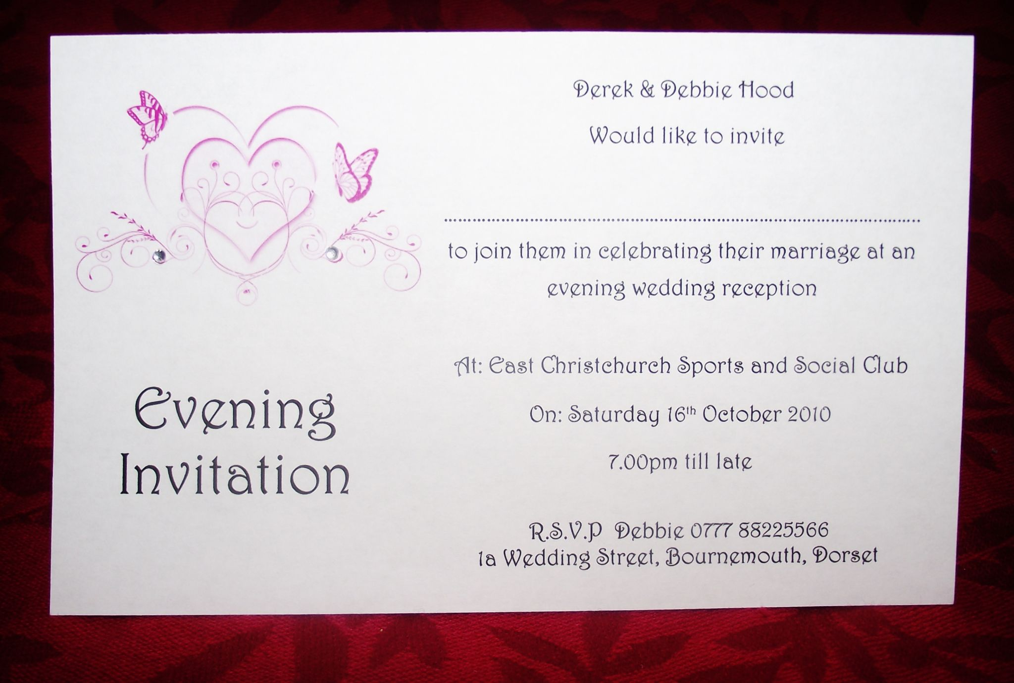 Wedding invitations Day or Evening Personalised Butterfly Heart ...