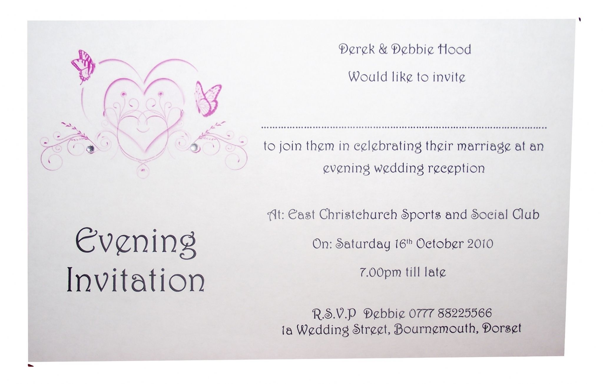 Evening Wedding Reception Invitations: Wedding Invitations Day Or Evening Personalised Butterfly