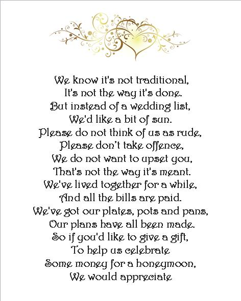Wedding Money Poem Cards 3 Different Poems Heart Scroll Set Of 24