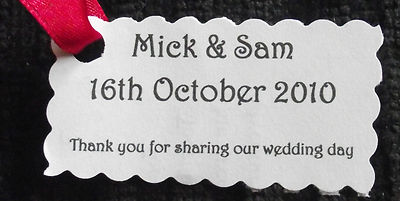 Wedding Reception Favour Tags