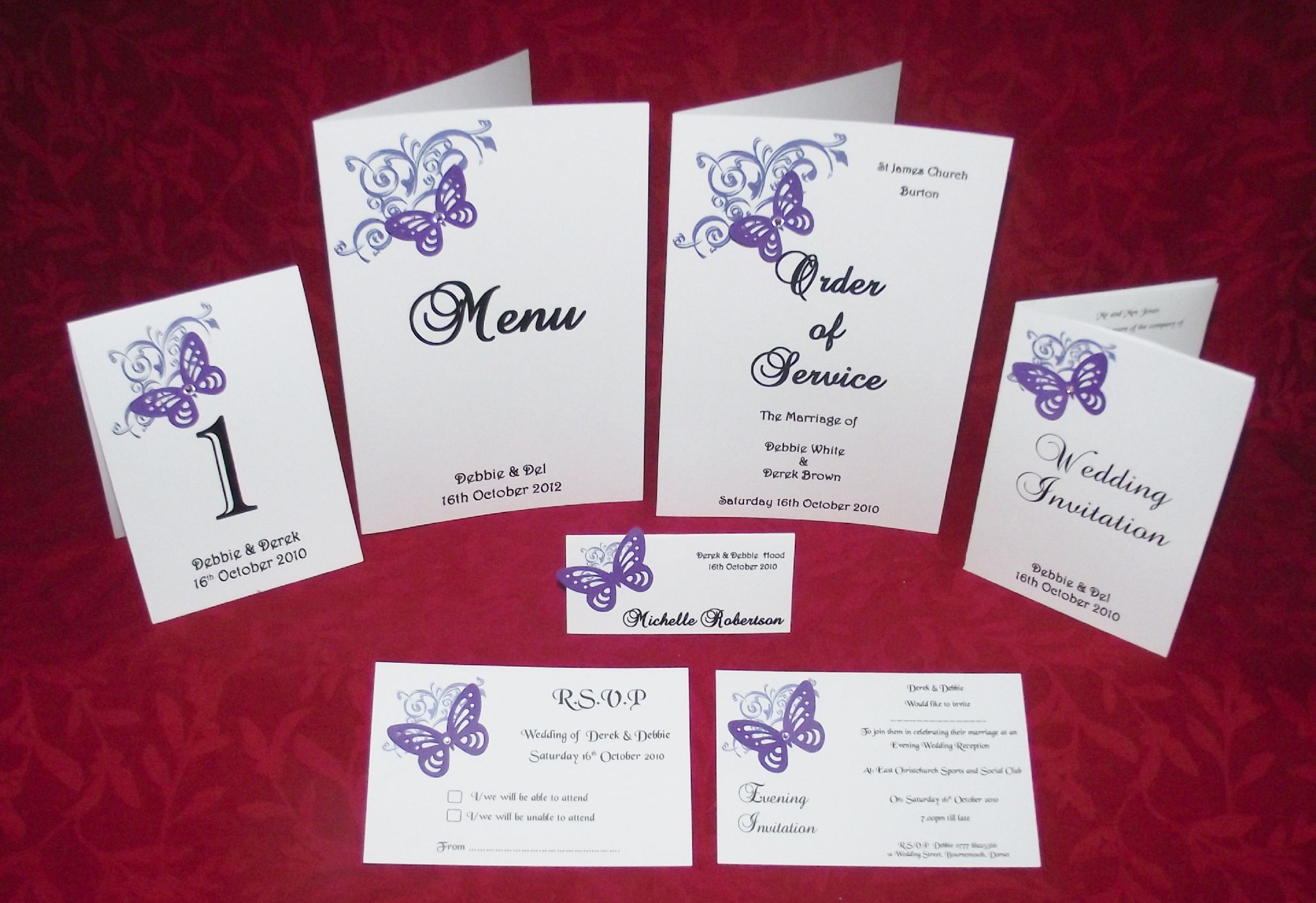 WeddingStationery Sample Pack Corner butterfly design various colours