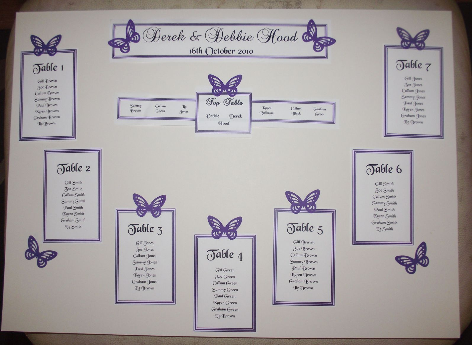 Wedding seating chart table plan personalised a3 a2 for Table design names